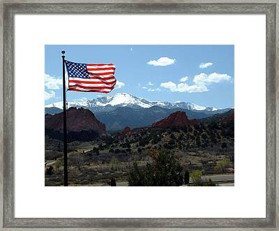 Patriotism At Pikes Peak Framed Print by Diane Wallace