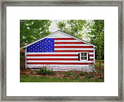 Patriots Garage Framed Print by Terence Lyons