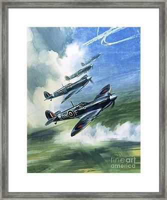 Patrolling Flight Of 416 Squadron, Royal Canadian Air Force, Spitfire Mark Nines Framed Print by Wilf Hardy