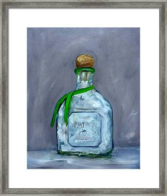 Patron Silver Tequila Bottle Man Cave  Framed Print