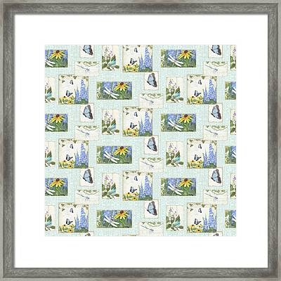 Pattern Butterflies Dragonflies Birds And Blue And Yellow Floral Framed Print by Audrey Jeanne Roberts
