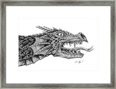 Framed Print featuring the drawing Pattern Design Dragon by Aaron Spong