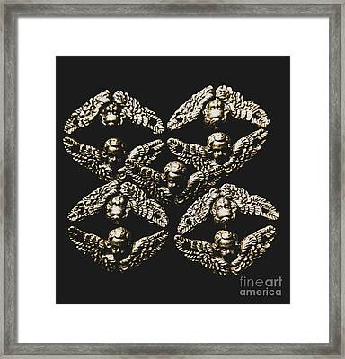 Pattern Of Antique Cupid Angels  Framed Print