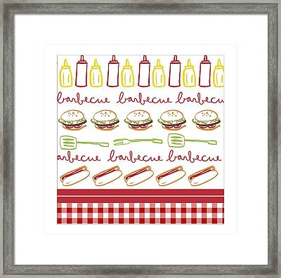 Pattern With Barbecue Lettering, Hot Framed Print by Gillham Studios