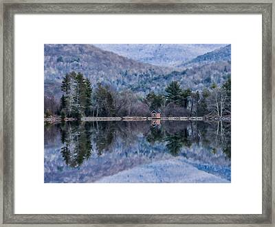 Patterns And Reflections At The Lake Framed Print
