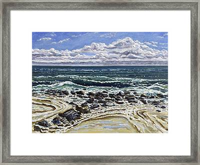Patterns In The Sand Framed Print by Ralph Papa