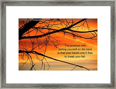 Patting Yourself On The Back Framed Print