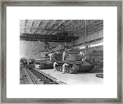 Patton Tank Assembly Line Framed Print by Underwood Archives