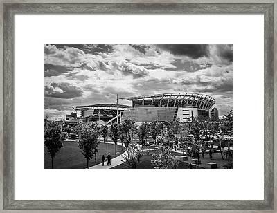 Paul Brown Stadium Black And White Framed Print by Scott Meyer