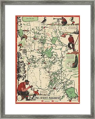Paul Bunyan's Playground - Northern Minnesota - Vintage Illustrated Map - Cartography Framed Print