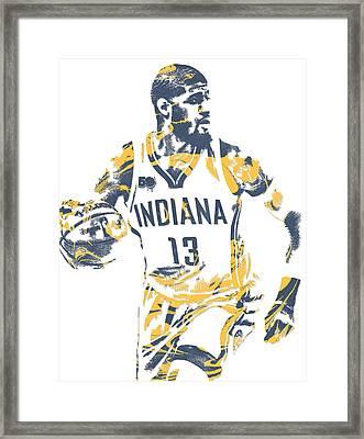 Paul George Indiana Pacers Pixel Art 10 Framed Print
