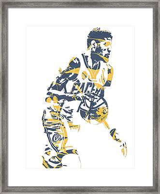 Paul George Indiana Pacers Pixel Art 11 Framed Print