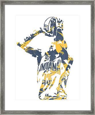Paul George Indiana Pacers Pixel Art 12 Framed Print