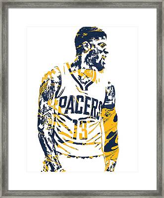 Paul George Indiana Pacers Pixel Art 4 Framed Print
