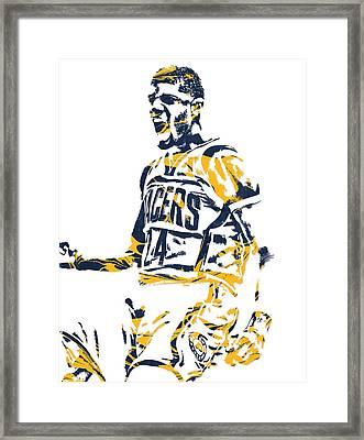 Paul George Indiana Pacers Pixel Art 5 Framed Print