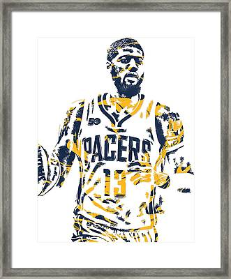 Paul George Indiana Pacers Pixel Art 7 Framed Print
