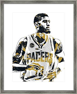Paul George Indiana Pacers Pixel Art Framed Print by Joe Hamilton