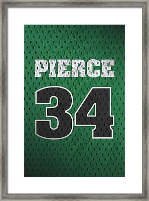 Paul Pierce Boston Celtics Number 34 Retro Vintage Jersey Closeup Graphic Design Framed Print