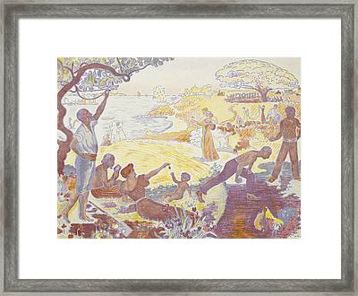 Paul Signac - In The Time Of Harmony - The Joy Of Life - Sunday By The Sea Framed Print by Paul Signac
