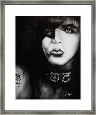 Paul Stanley From Kiss Framed Print by Stephen Sookoo