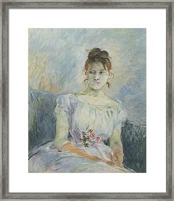 Paule Gobillard En Robe De Bal Framed Print by Berthe Morisot