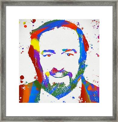 Pavarotti Colorful Paint Splatter Framed Print by Dan Sproul