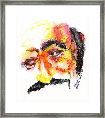 Framed Print featuring the drawing Pavarotti Sketch No. 1 by Andrew Gillette