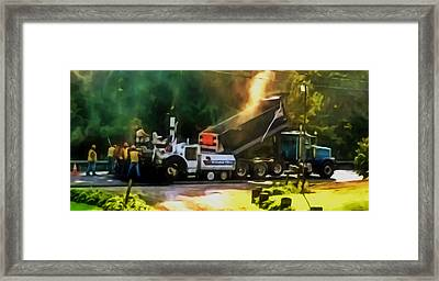 Pavement Machine Laying Fresh Asphalt  On Top Of The Gravel Base During Highway Construction Framed Print