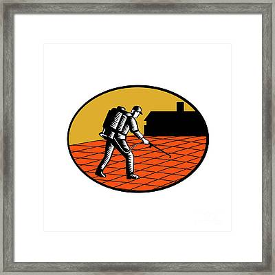 Paver Sealer Contractor House Oval Woodcut Framed Print by Aloysius Patrimonio