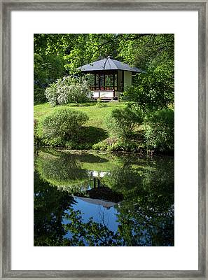 Pavilion  In Japanese Garden Framed Print by Jenny Rainbow