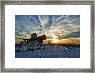 Pavillion And The Beach Framed Print