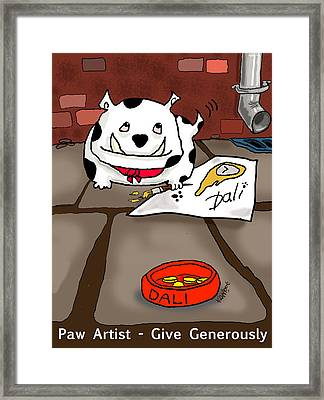Paw Artist Give Generously Framed Print