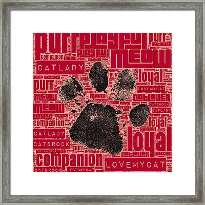 Paw Print Adopt Red Framed Print