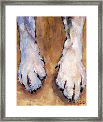 Framed Print featuring the painting Paw Study  by Molly Poole