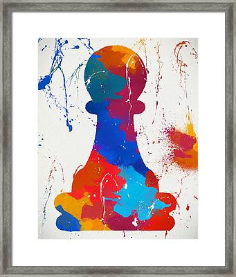Pawn Chess Piece Paint Splatter Framed Print by Dan Sproul