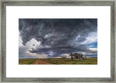 Framed Print featuring the photograph Pawnee School Storm by Darren White