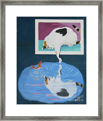 Framed Print featuring the painting Paws And Effect by Phyllis Kaltenbach