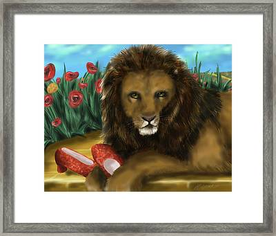Framed Print featuring the digital art Paws Off My Ruby Slippers by Meagan  Visser