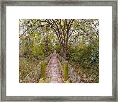 Paydirt Hanging Bridge At Bluff Creek Ranch In Warda - Texas Framed Print