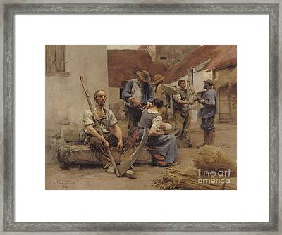 Paying The Harvesters Framed Print by Leon Augustin Lhermitte