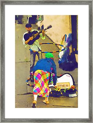 Paying The Musician Framed Print by Dale Stillman