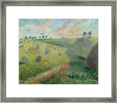 Paysage Avec Meules Framed Print by Camille Pissarro