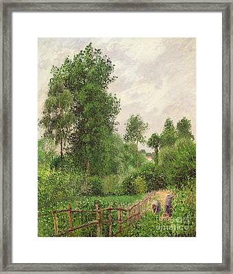Paysage, Temps Gris A Eragny Framed Print by Camille Pissarro