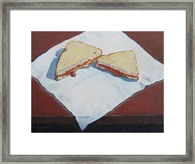 Pb And J On Napkin Framed Print by Jennifer Boswell
