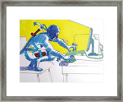 Pc Ninja Framed Print by Mike Jory