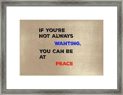 Peace #2 Framed Print
