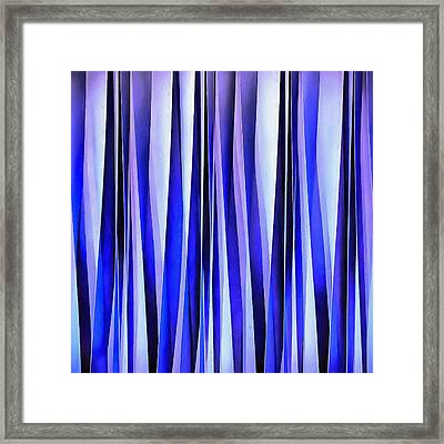 Peace And Harmony Blue Striped Abstract Pattern Framed Print