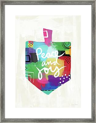 Peace And Joy Dreidel- Art By Linda Woods Framed Print by Linda Woods