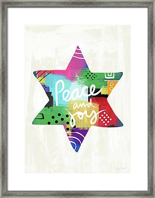 Peace And Joy Star-art By Linda Woods Framed Print by Linda Woods