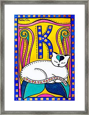 Framed Print featuring the painting Peace And Love - Cat Art By Dora Hathazi Mendes by Dora Hathazi Mendes